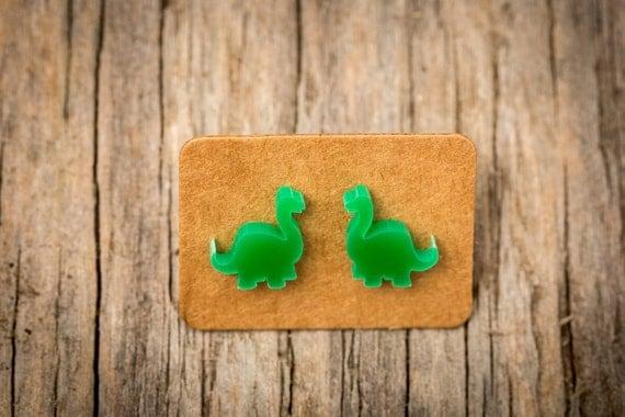 FREE SHIPPING WORLDWIDE - Tiny-Saurs - Brontosaurus Earrings - Surgical Steel - Acrylic Earrings Studs