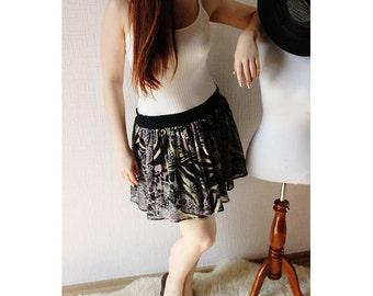 SALE CHIFFON  mini skirt ~ Purple skirt ~ Black skirt ~ Evening skirt ~ Abstract print skirt ~Elastic waist ~ Party skirt ~ Birthday skirt