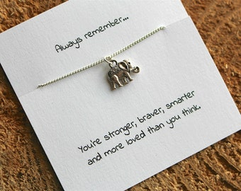 Elephant necklace, best friend gift, friendship necklace, sympathy gift, charm necklace, friendship charm, gift for her