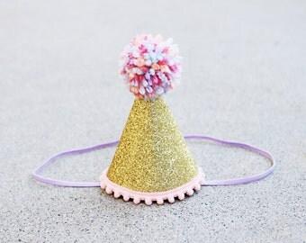 Girls Gold Sparkle Birthday Mini Party Hat