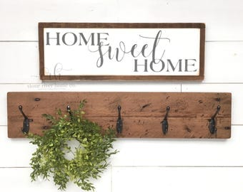 Home Sweet Home Painted Wood Sign | Home Decor Sign | Distressed Rustic Antiqued sign Decor | Fixer Upper | Farmhouse Decor