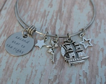 Peter Pan Bracelet // Tinkerbell bracelet // Second star to the right // Peter Pan Jewelry // Neverland