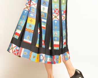 1970's Louis Feraud states flags motif pleated skirt