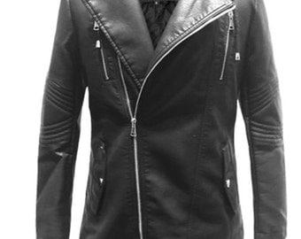 Black Faux Leather Long Jacket.