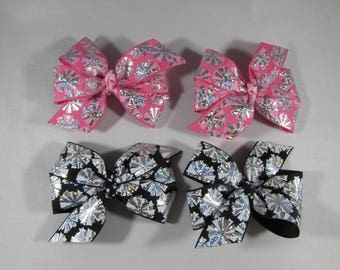 Cheerleader Bow Set, Pink & Silver Pom Pom Hair Bows, Black Cheering Barrette, Cheerleader Birthday Gift, Twin Hair Bow Set, Cheer Hair Clip