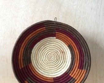 Hand Woven Grass African Basket Tray Rwanda Native Multi-colored Bohemian Home Decor
