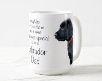 Black Lab Mug 3LD- Labrador Mug - Black Lab Gifts -Labrador Gifts - Lab Dog- Dog Dad - Lab Dad - Fathers Day - Black Dog Art - Black Lab Art