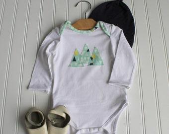 Infant Triangle Onesie - Premium Baby Shirt - Bodysuit - Baby Shower Gift - Mojave Aloe Art Gallery Fabrics - Made 4U Handmade Designs