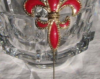 "Vintage Crown TRIFARI Huge (5"") Red Fleur de Lis Stick Pin, Brooch, Hard to Find!"