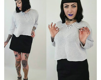 Vintage Cropped Lace Up Sweater Medium - 90's Pale Goth Grunge Knit Crop Top - Slouchy Top