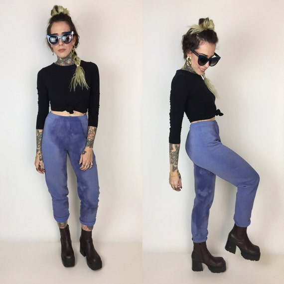 Tie Dye Cotton High Waist Joggers Size Small - Hand Dyed Baggy Cotton Pants Small 3/4 - Blue Purple Bleached High Waist Sporty Sweatpants