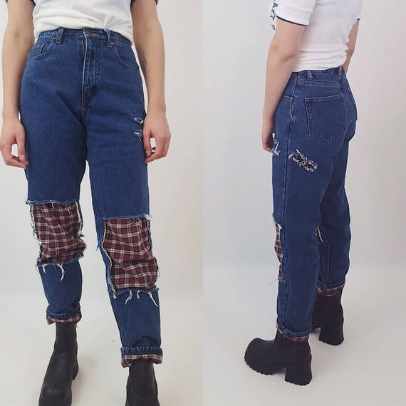 Size 4 High Waist Shredded 90's Flannel Jeans - Dark Blue Distressed Denim with Plaid Lining - Mom Baggy Leg Holey Grunge Ripped Knee Jeans