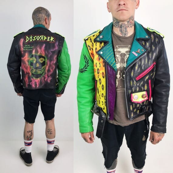 Neon Leather Punk Jacket Mens 38 Medium Vintage FMC - Hand Painted Flames Back Patch Disorder Misfits Leopard Print Colorful Leather Jacket