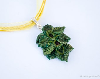 Fairy leaf pendant necklace, Polymer clay pendant, Forest spirit necklace, Forest fairy pendant, Leaf pendant, Nature jewelry, Fantasy leaf