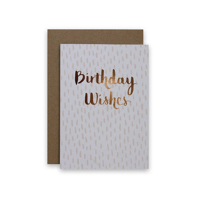 Birthday Card Happy Birthday Card Hand Lettered Cards Rose Gold