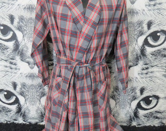 60s Plaid Robe / L / XL