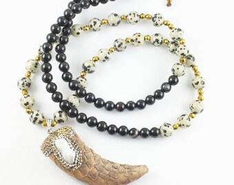 Bohemian Beaded Mala Necklace, Rhinestone Pearl Horn, Dalmatian Jasper Beads, Yoga Necklace, Buddha