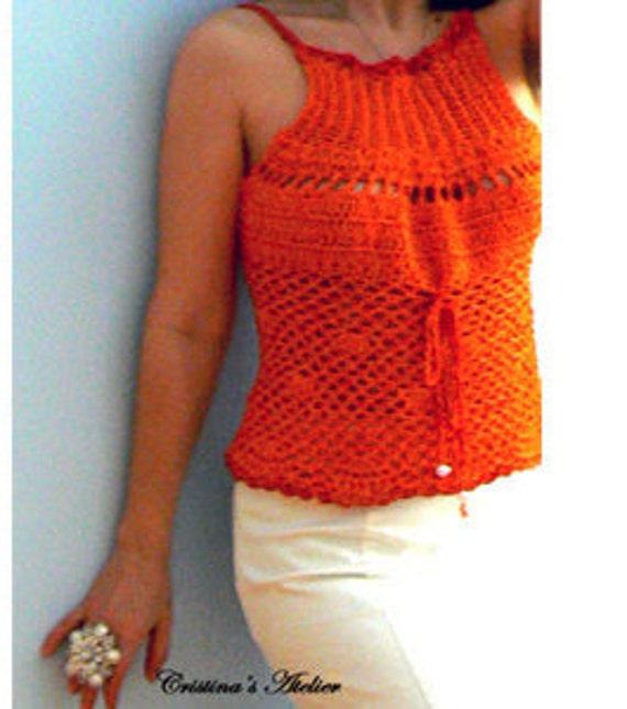 Tangerine crochet tank top .Handmade mesh crochet top. Corset back crochet top. Fitted crochet smocked top Elegant summer boho crochet tank.