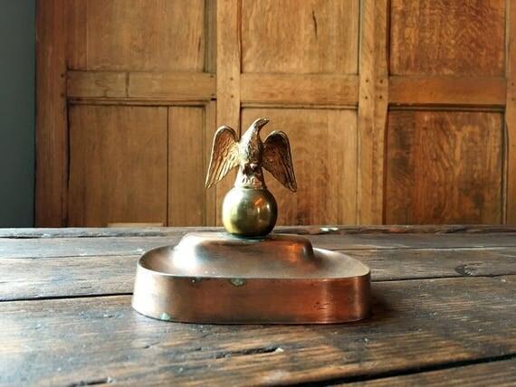 Vintage Copper Eagle Ashtray Trinket Dish, Copper And Brass Ring Dish, Jewelry Dish, Decorative Storage