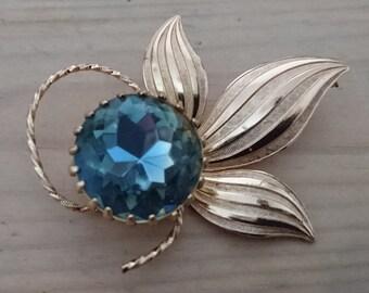 Vintage blue glass stone brooch