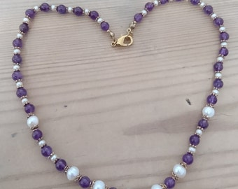 Vintage amethyst and real Pearl necklace