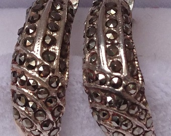 Vintage sterling silver and marcasite earrings