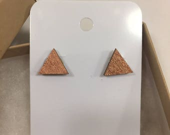 Rose gold triangle wooden earrings