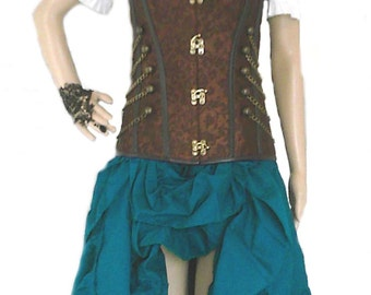 RENAISSANCE STEAMPUNK Teal Skirt 100% Cotton Hand Dyed Pirate VICTORIAN Costume Medieval Color Choice