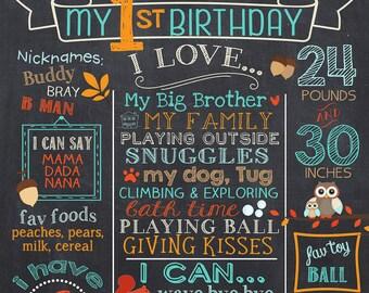 Fox First Birthday Chalkboard - Woodland 1st Birthday Chalk Board Sign - Milestone Birthday Poster - Printable - Baby's First Birthday