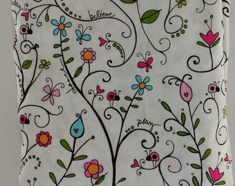 100% Cotton Fitted Crib Sheet – Flower Power pattern. Free U.S. Shipping!