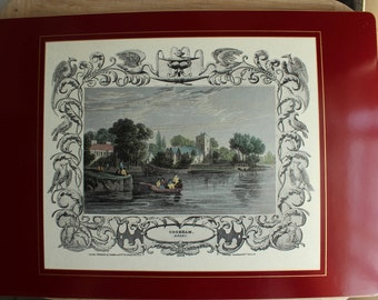 Set of five Lady Clare Placemats with red Background. Each placemat has a different classic London scene.