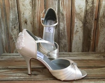 Open Toe Bridal Pump With Ankle Strap Beaded Lace Heel Wedding Shoe  Wide Widths Available