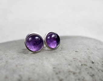 Amethyst Stud Earrings, February Birthstone, Protection Stone, Simple, Small, Posts, Sterling Silver, Crown Chakra