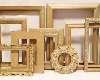 Gold Picture Frame Set, Gold Frames, Painted Gold frames, Vintage Gold Frames, Picture Frame Set, 4 Gold Frames, Wall Frame Set, Frame Set