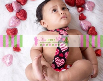 Valentine Red Chevron Infant Photo Prop 1st Birthday Set Diaper Cover and Necktie