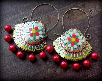 gypsy hoop earrings, rustic metalwork earrings, ethnic tin earrings, nepal jewelry, metal ethnic jewelry, extra large earrings ooak jewelry