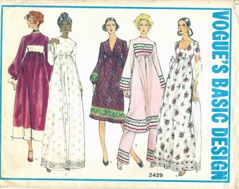 70s Vogue Basic Design 2429 Misses' One-Piece Dress and Pants Sewing Pattern CUT