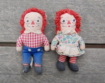 """Raggedy Ann and Raggedy Andy Dolls 7"""" Knickerbocker - Raggedy Ann and Andy Pair 1970s"""