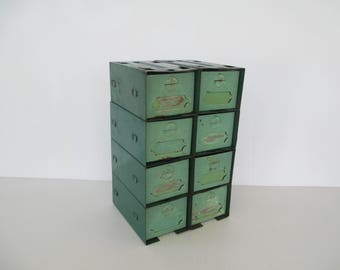 Vintage Cincinnati Ventilating Metal Storage Bins, Chippy Green Pressed Steel Filing Drawers, Industrial 8 Drawer Organizer Box