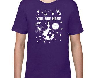 Kids Clothing, Kids Shirt, Funny T Shirt, You Are Here Space Tshirt, Tee, Space T Shirt, Youth, Childrens Clothes, Ringspun Cotton