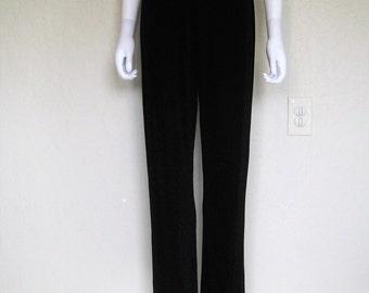 Black Slinky High Waist Pants - small