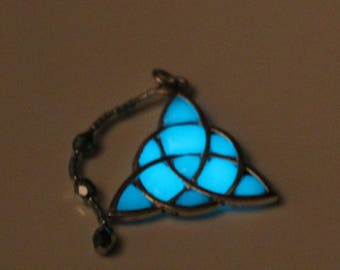Celtic Triquetra Pendant in Turquoise Blue Glow in the Dark, with a Curved Czech Crystal Accent