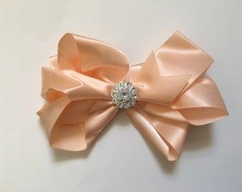 Peach Satin Hair Bow,  Spring Hair Bows, Easter Hair Bow , Flower Girl Hair Bow, Dance Costume Hair Piece,Fancy Girl BoutiqueNYC Custom