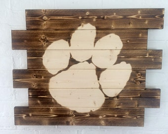 Clemson Tigers Rustic Wood Sign