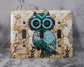 Metal Owl Triple Toggle Light Switch Covers - Hoot Owl Switch Cover - 3T 3 Toggle