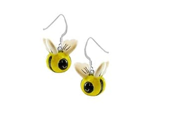 3-D, Hand Painted, Resin Bumble Bee Earrings, Qty.1 pair