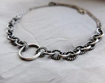 BDSM Day Collar, BDSM O Collar, BDSM Choker, Fetish Choker, Bikerchick Choker, Silver Choker, Chain Choker, Submissive Collar, Slave Collar
