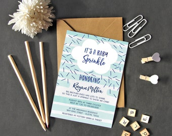 Baby Sprinkle Invitation Boy - Printable or Printed Baby Shower Invite - Blue