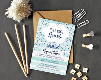 Baby Sprinkle Invitation Boy - Printable Baby Shower Invite - Blue - Instant Download