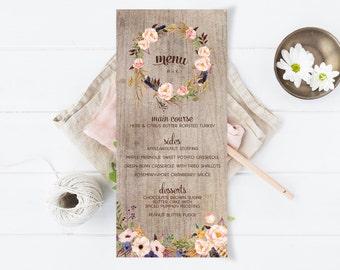 Floral Printable Wedding Menu - Rustic Fall or Autumn Menu - DIY Floral Menu - Instant Download
